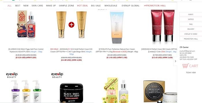 trang web mua mỹ phẩm hàn quốc