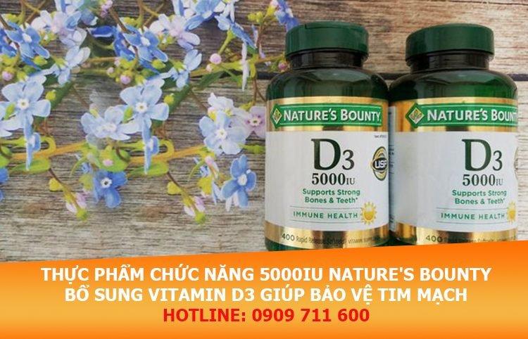 5000IU Nature's Bounty bổ sung vitamin D3 giúp bảo vệ hệ tim mạch tối đa