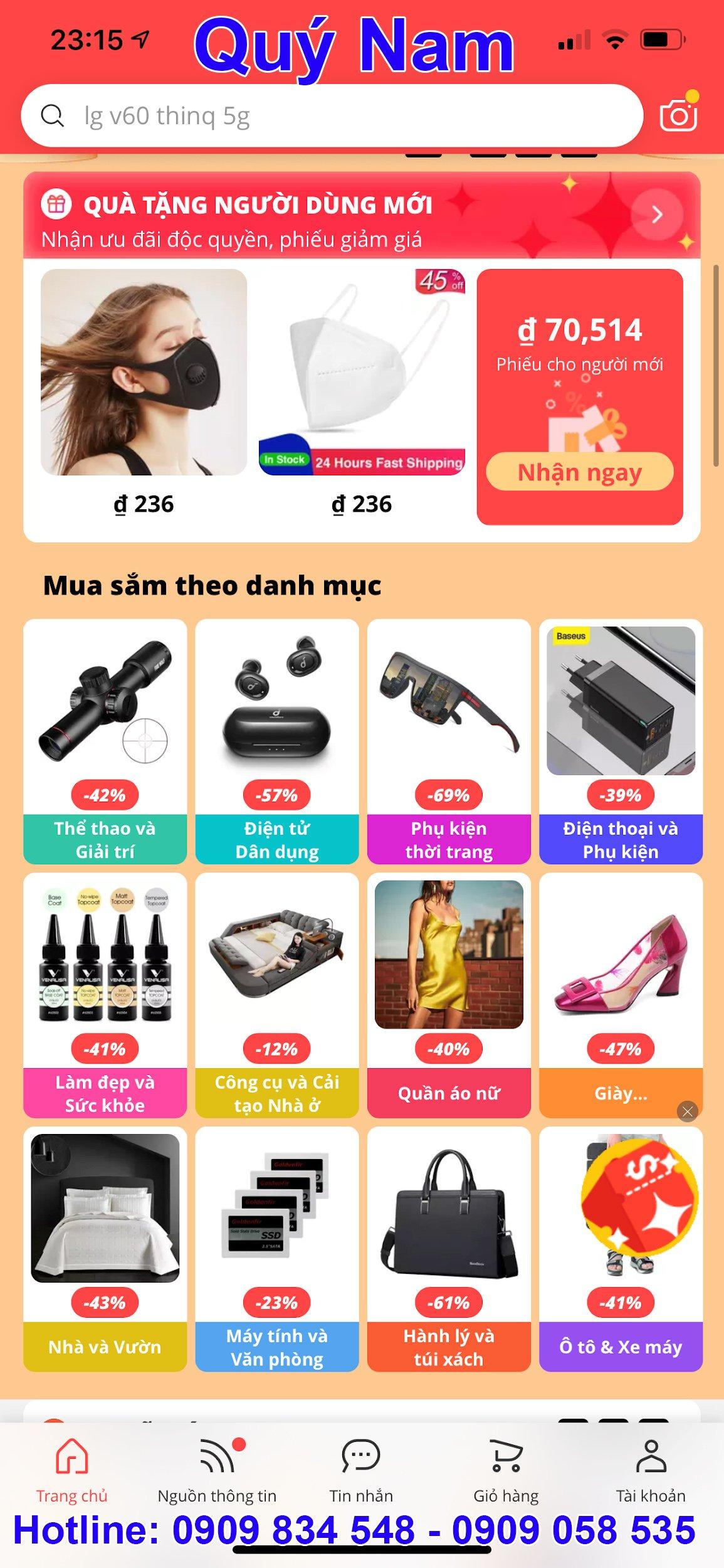 Giao diện bằng tiếng Việt của Aliexpress
