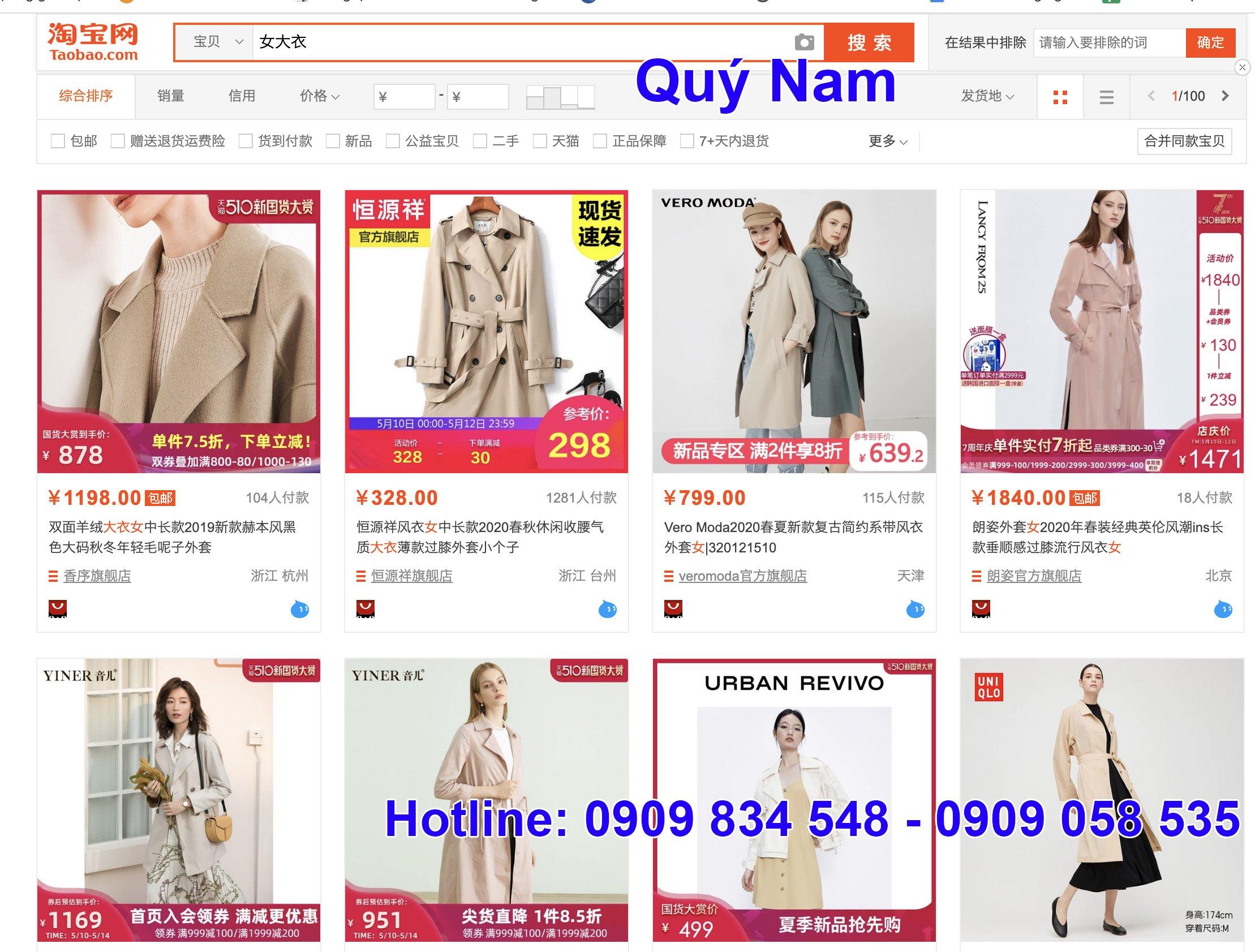 Mua áo khoác dạ tại các trang thương mại điện tử