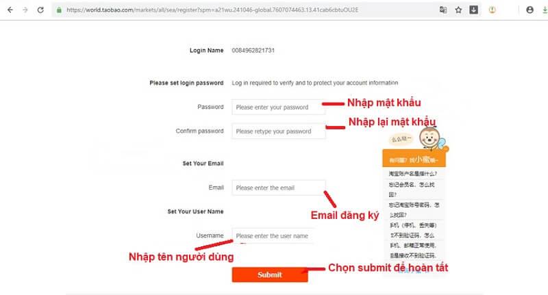 đăng ký taobao