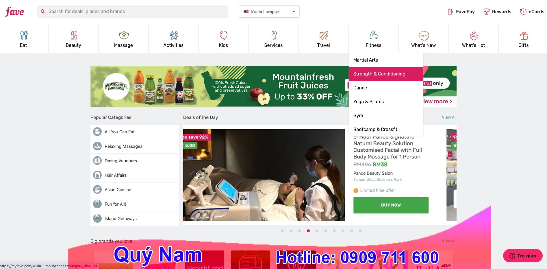 Trang web Fave có nhiều mặt hàng đa dạng và thường xuyên có chương trình giảm giá