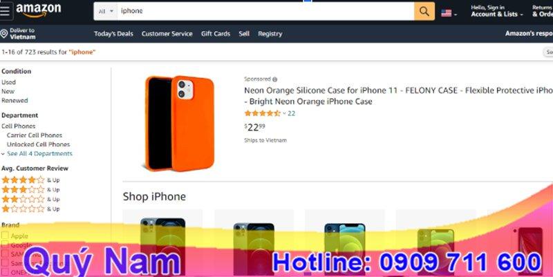 Trang web bán điện thoại ở Mỹ Amazon