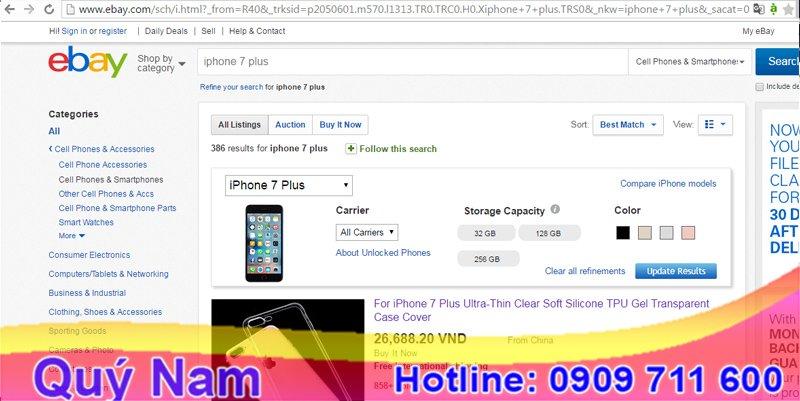 Mua điện thoại trên ebay