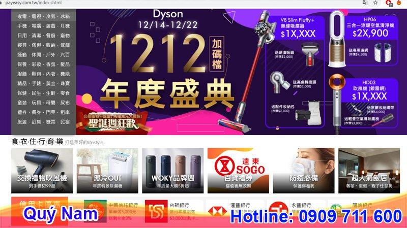Trang web Payeasy cung cấp nhiều mặt hàng công nghệ nổi tiếng