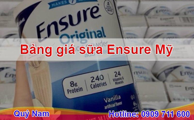 Quý Nam xin chia sẻ bảng giá sữa Ensure mới bạn có thể tham khảo