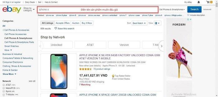 các bước đấu giá ebay